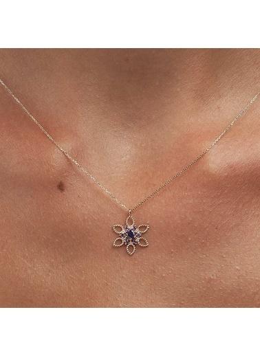 Piano Jewellery Cabaret Taşlı Nergis Altın Kolye 14 Ayar Gümüş